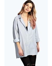 Boohoo Aleena Oversized Fine Stripe Cotton Shirt