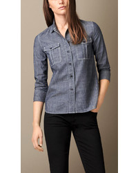 Burberry Brit Cotton Chambray Utility Shirt