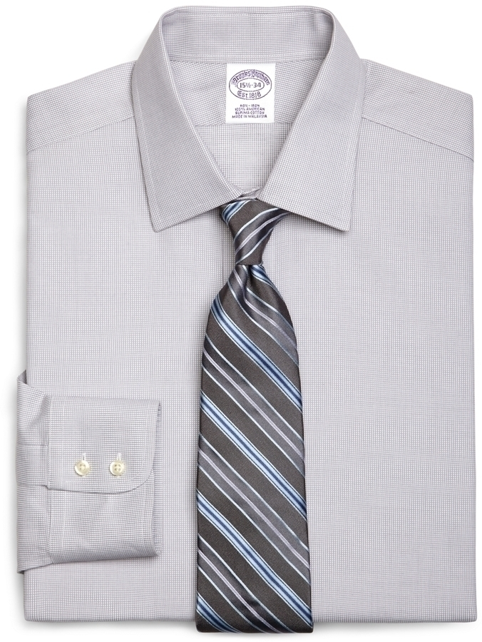 Grey dress shirt brooks brothers supima cotton non iron for Van heusen no iron lux sateen dress shirt fitted