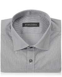 Forzieri Dark Gray Micro Checked Stretch Cotton Slim Fit Shirt