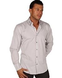 Preview Grey Pinstripe Button Down Dress Shirt Wwhite Pattern Contrast Xxl
