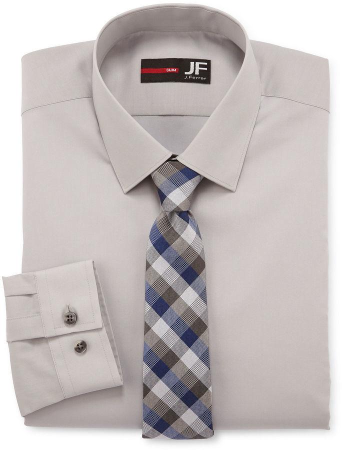 30b160f44e08b JF J.Ferrar Jf J Ferrar Dress Shirt And Tie Set Slim Fit, $50 ...