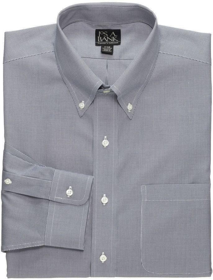 Grey dress shirt jos a bank traveler tailored fit for Jos a bank slim fit vs tailored fit shirts