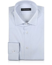 Forzieri Light Gray Checked Woven Cotton Slim Fit Shirt