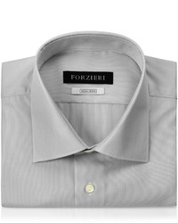 Forzieri Light Gray Striped Non Iron Cotton Slim Fit Shirt