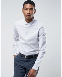 Asos Smart Slim Oxford Shirt With Stretch In Light Gray