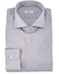 Kiton Solid Poplin Dress Shirt Gray