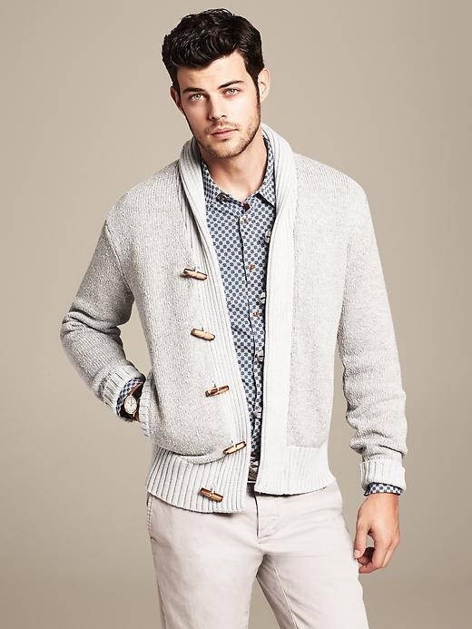 Banana Republic Heritage Textured Grey Shawl Collar Cardigan Where