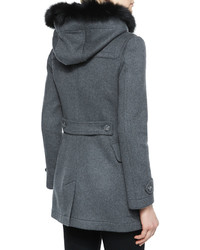 Burberry Brit Blackwell Fitted Duffle Coat With Removable Fur Trim ...