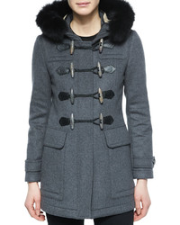 Burberry Brit Blackwell Fitted Duffle Coat With Removable Fur Trim