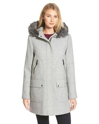 Vince Camuto Faux Fur Trim Hooded Wool Blend Duffle Coat