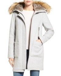 Wool blend duffle coat with faux fur trim hood medium 1102276