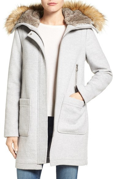 e1806fdb1b293 Vince Camuto Wool Blend Duffle Coat With Faux Fur Trim Hood, $228 ...