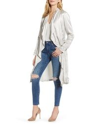 Cupcakes And Cashmere Drape Front Satin Trench Coat