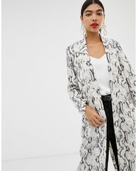 ASOS DESIGN Duster Coat In Snake