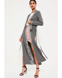 Missguided Grey Satin Trim Tie Cuff Duster Coat