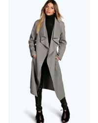 Boohoo Kate Belted Shawl Collar Coat