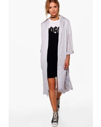 Boohoo Lydia Boutique Satin Wrap Over Duster