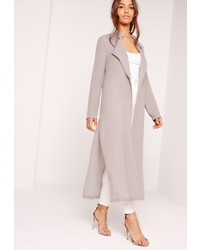 Missguided Tie Choker Chiffon Duster Coat Grey
