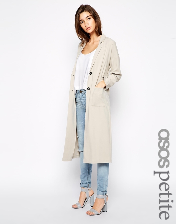 Asos Petite Long Line Duster Jacket | Where to buy & how to wear