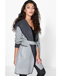 Boohoo Tracy Shawl Collar Wool Look Duster Coat