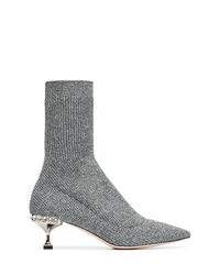 Miu Miu Marl Grey 55 Sock Heeled Boots