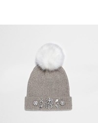 River Island Grey Pom Pom Top Embellished Beanie Hat