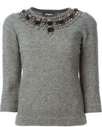 Grey Embellished Crew-neck Sweater