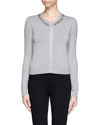 Nobrand Donna Jewel Neck Cropped Cardigan