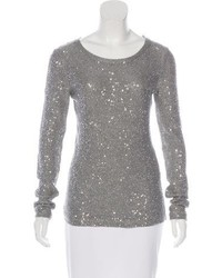 Oscar de la Renta Embellished Crew Neck Sweater