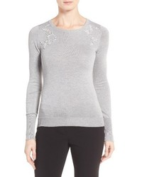 Ivanka Trump Embellished Crewneck Sweater