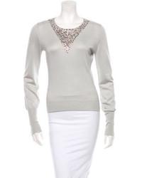 Alice + Olivia Embellished Silk Cashmere Sweater S