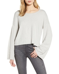 Cupcakes And Cashmere Imitation Pearl Embellished Bell Sleeve Crop Sweater