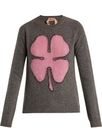 No.21 No 21 Crystal Embellished Clover Intarsia Wool Sweater