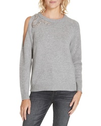 Grey Embellished Crew-neck Sweaters for Women  ca9974667