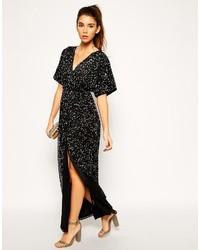 87bcc164216 ... Asos Petite Sequin Kimono Sleeve Maxi Dress