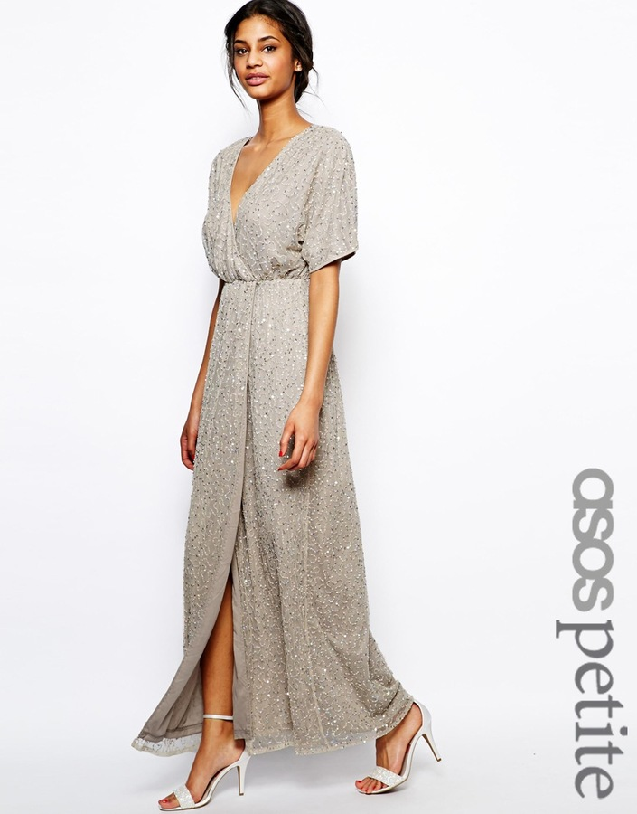 bf846b90805 ... Asos Petite Sequin Kimono Sleeve Maxi Dress ...
