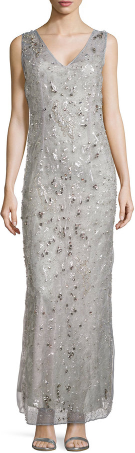 Philosophy di Alberta Ferretti Beaded And Studded V Neck Gown Gray ...
