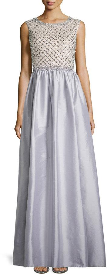 Aidan Mattox Beaded Bodice Taffeta Skirt Gown Gray | Where to buy ...