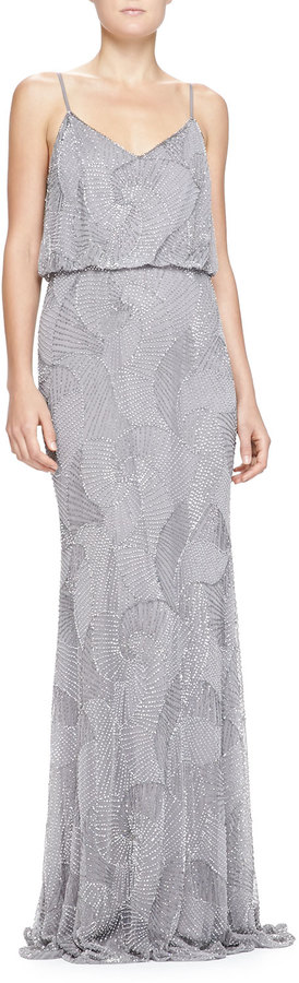 Armani Collezioni Beaded Shell Blouson Slip Gown | Where to buy ...