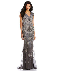 Jvn Evenings By Jovani Metallic Beaded Floral Applique Gown