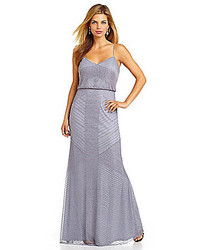 Adrianna Papell Long Beaded Blouson Gown