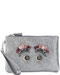 Grey Embellished Leather Clutch