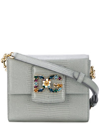 Grey Embellished Leather Crossbody Bag