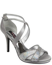 Grey Embellished Leather Heeled Sandals