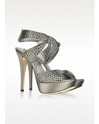 Loriblu Jeweled Dark Gray Satin Sandal