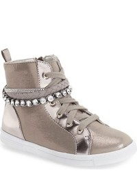 Stuart Weitzman Heather Crystal Embellished High Top Sneaker