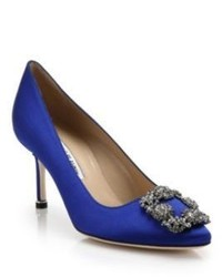 Manolo Blahnik Hangisi 70 Crystal Embellished Satin Pumps