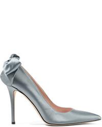 Sarah Jessica Parker Sjp By Lucille Bow Embellished Satin Pumps Gray