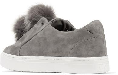 cfca74aae4d2 Sam Edelman Leya Faux Fur Embellished Suede Slip On Sneakers Gray ...